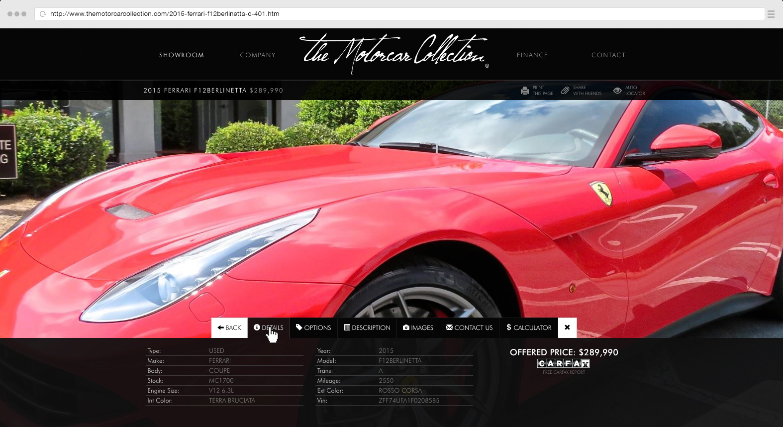 Vehicle details page
